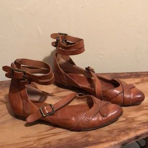 Frye Ankle Strapped Leather Flats